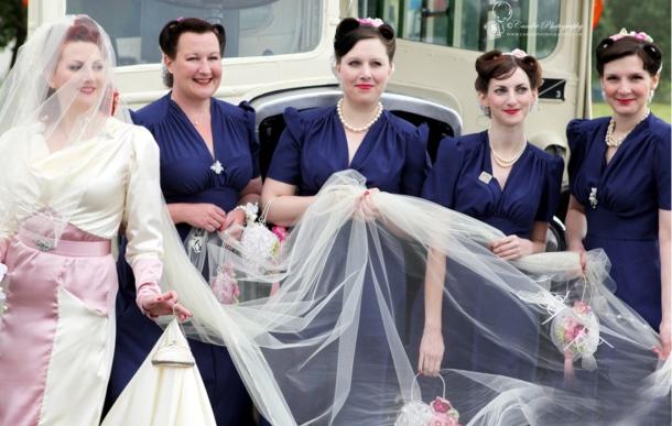 kitten von mew 1940s wedding bridesmaids