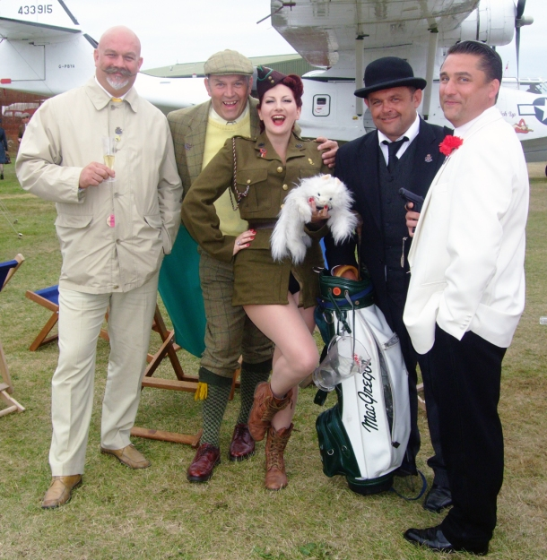 James Bond Baddies and Kitten von Mew at Goodwood 2012