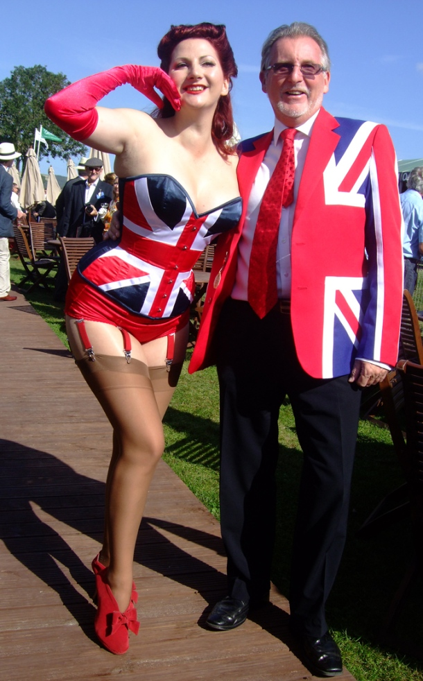 Kitten von Mew in Union Jack Corset at Goodwood Revival 2012
