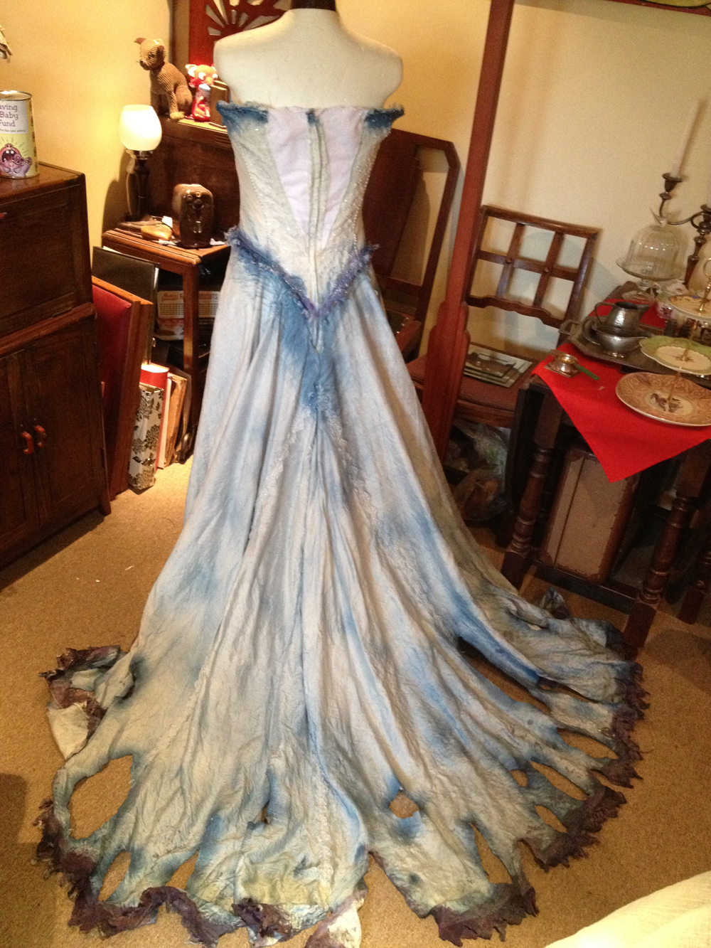 handmade corpse bride costume back