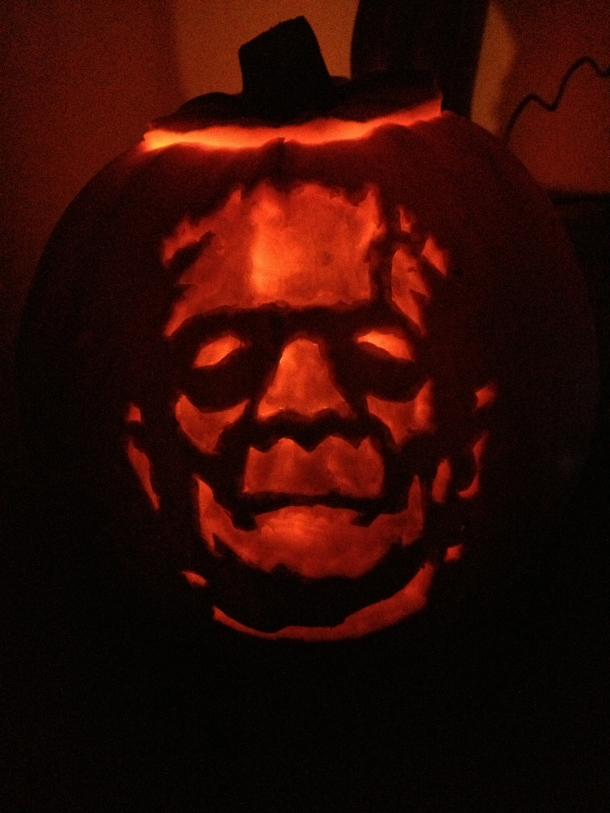 Frankenstein Engraved Pumpkin
