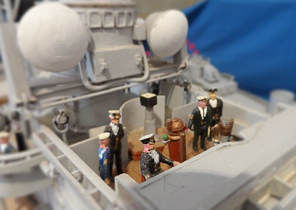 model boat miniature people