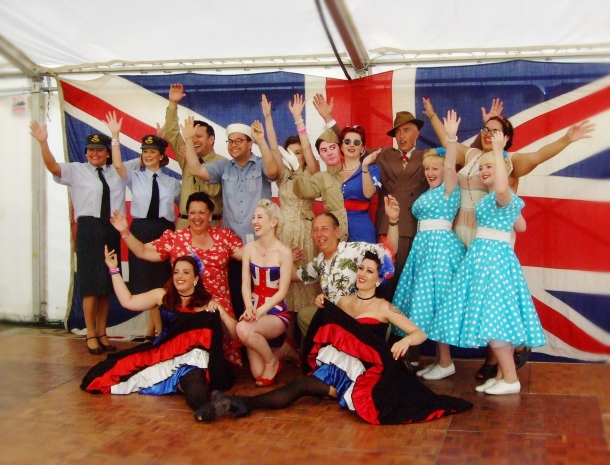 Most of the War and Peace Revival Entertainment Crew! Swingtime Sweethearts, Scott Elvis, Adam Hoffman, Holly, Myself, Viv the Spiv, Luna Nightingale, Sincerely Yours, Peekaboos, our wonderful dancer friends and Rosy Apples