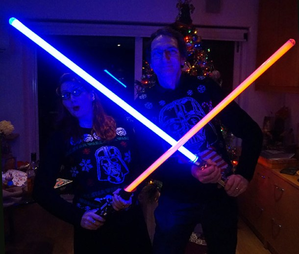 A fantastic gift from Lil' Siss! Star Wars Christmas jumpers!!!