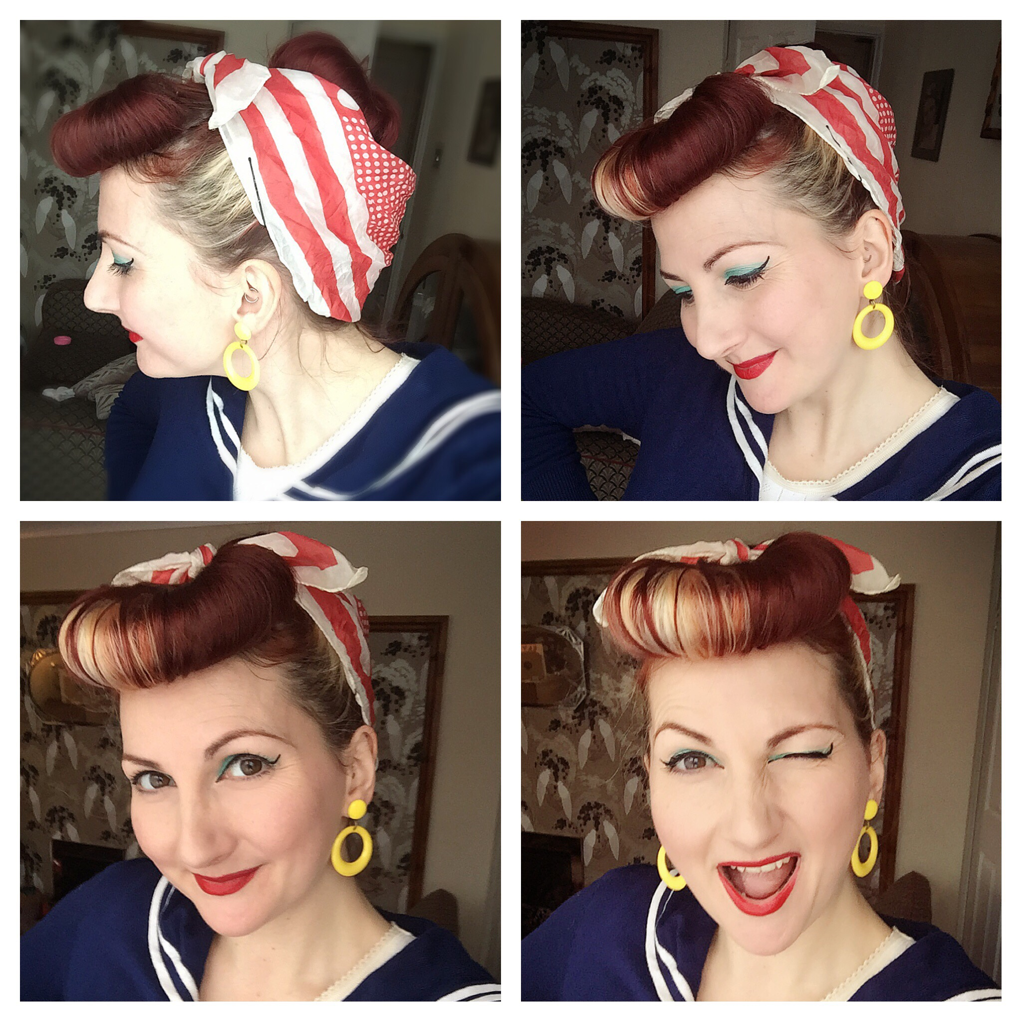 Retro Hairstyle Using Sponge Rings 1940s Pin Up Entertainer